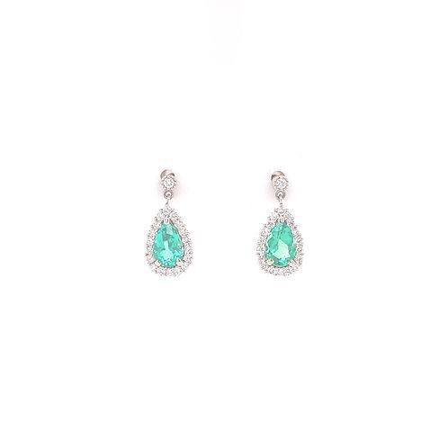 Emerald Earrings 90% Platinum & 18K White Gold