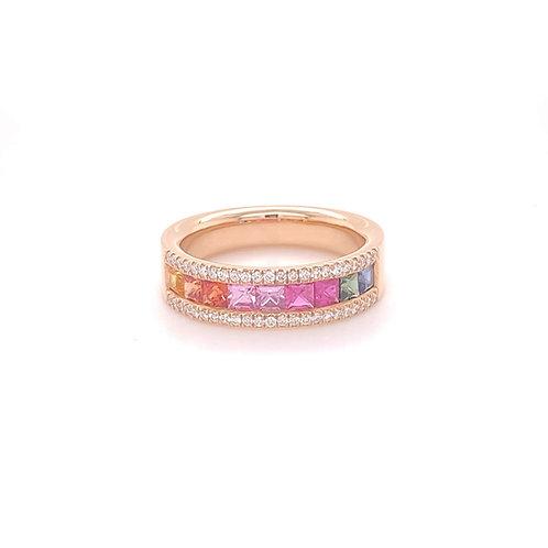 Fancy Colour Sapphire Ring 18K Rose Gold