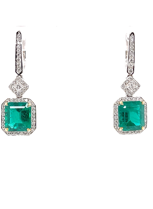 Natural Emerald Earrings 18K White Gold
