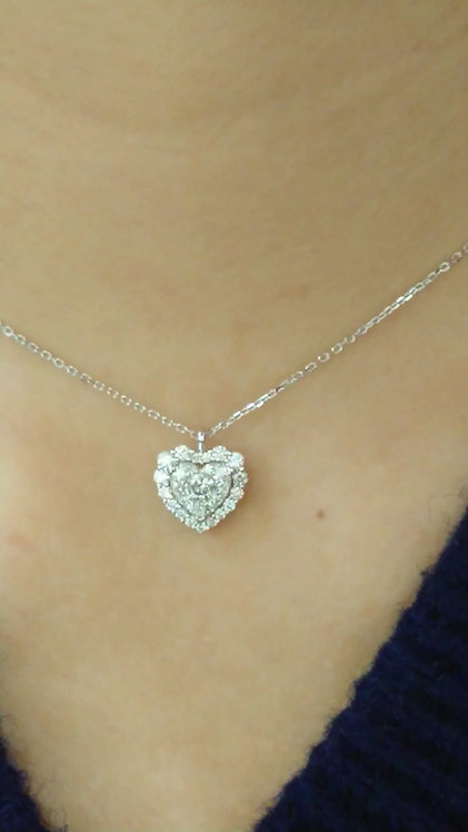 Diamond Pendant with chain 16'' 18K White Gold