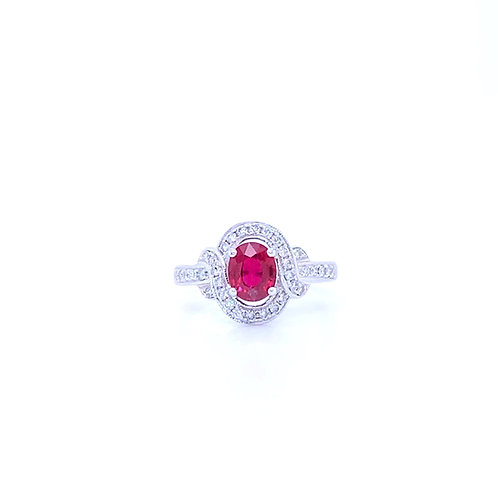 Natural Ruby Ring 18K White Gold