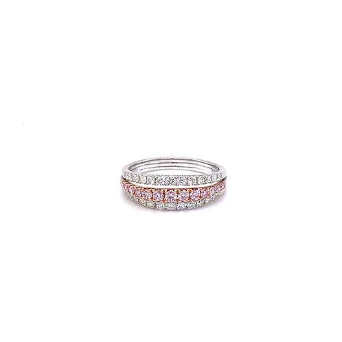 Fancy Diamond Ring 18K White & Rose Gold