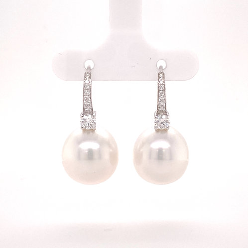 South Sea Cultured Pearl Earrings 18K White Gold