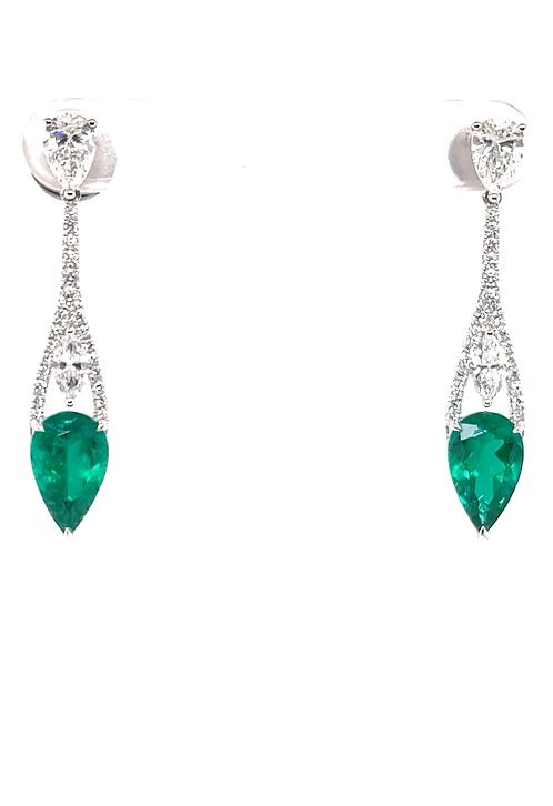 Natural Emerald Earrings 18K White Gold