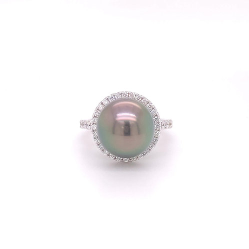 Tahitian Cultured Pearl Ring 18K White Gold