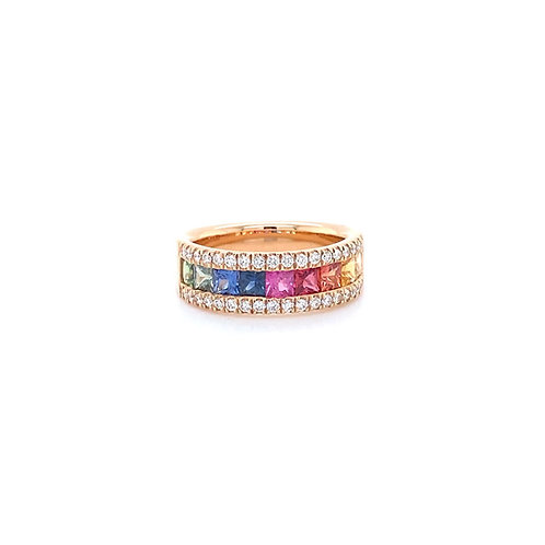 Fancy Colour Sapphire Ring 18K Rose Gold