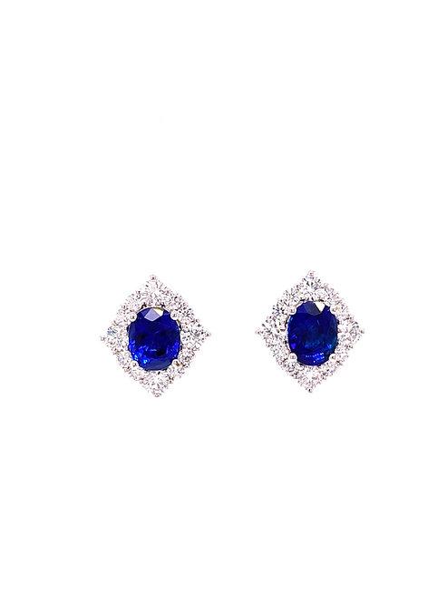 Natural Sapphire Earrings 18K White Gold
