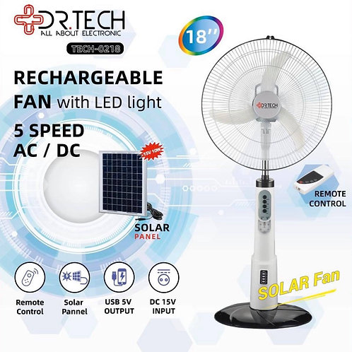 """18"""" Rechargeable Solar FAN with Battery"""