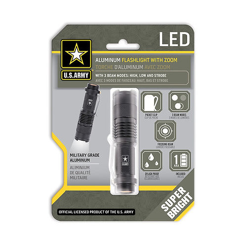 U.S Army Aluminum Flashlight with Zoom