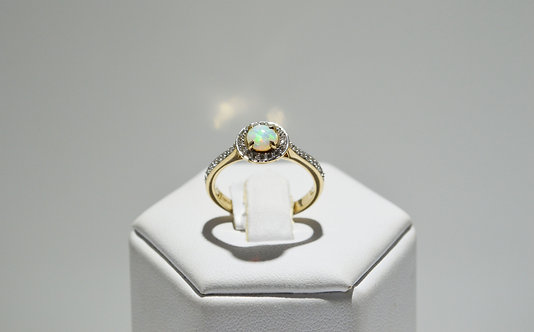 9ct Yellow Opal and Diamond Halo Ring