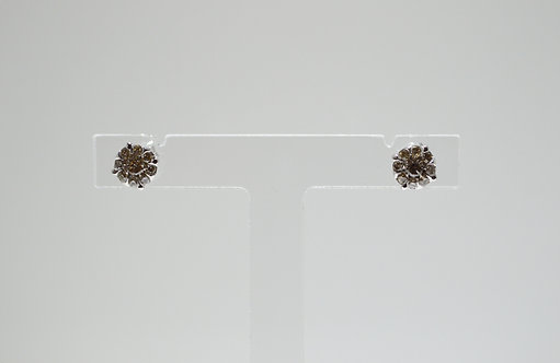 9ct White Gold Cluster Diamond Earrings