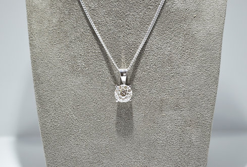 9ct White Gold Diamond Cluster Necklace