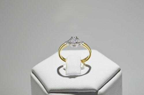 18ct Yellow Gold Trilogy Emerald Cut Diamond Ring