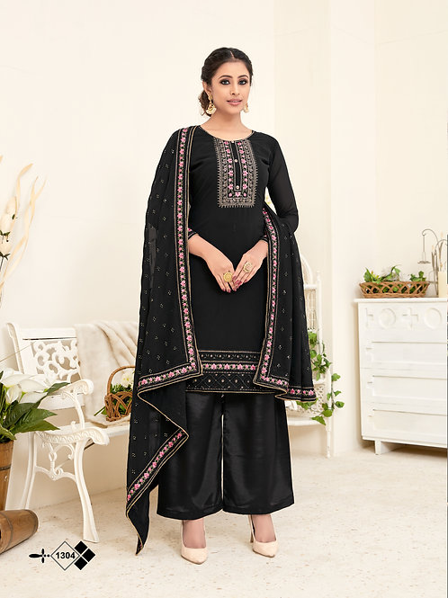 Black Soft Georgette Embroidered Straight Plazzo Style Suit.