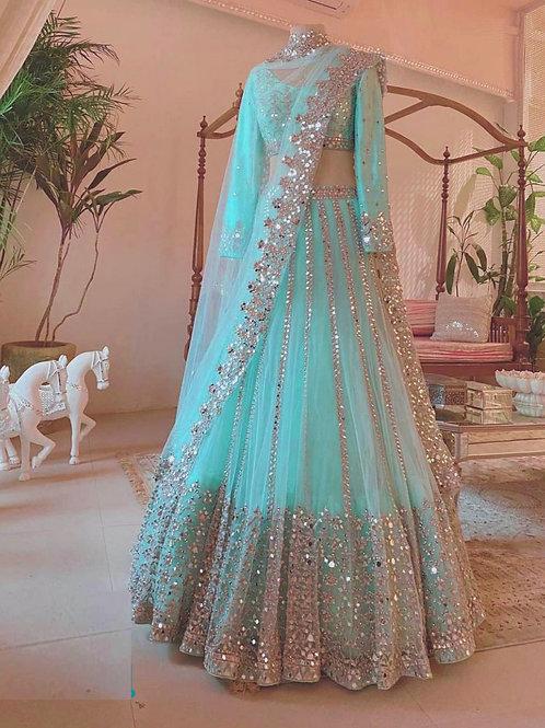 Party Wear Sky Blue Foil Work Net Lehenga Choli