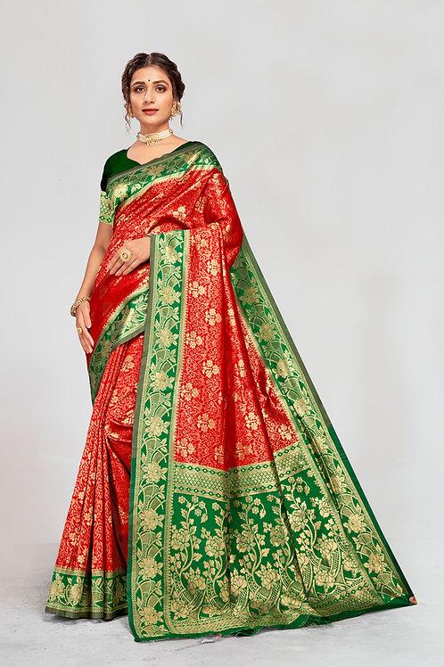 Excellent Red Color Soft Silk Saree