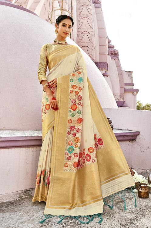 Excellent Off White Color Soft Silk Saree