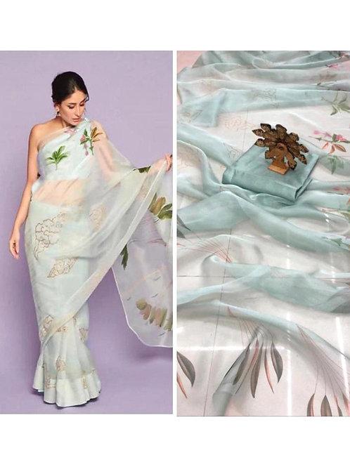 Attractive Sky Blue Color Festive Wear Digital Printed Organza Saree
