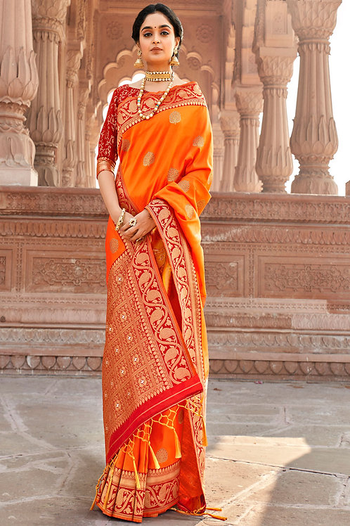 Latest Orange Color Soft Silk Saree