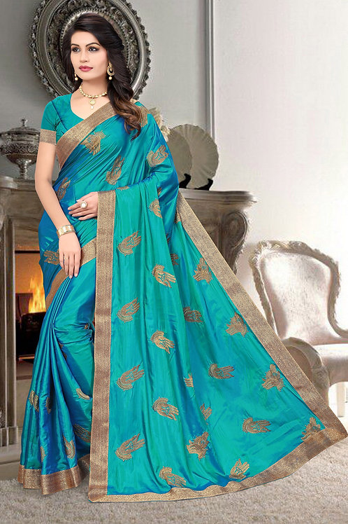 Awesome Sky Blue Color Silk Embroidered Saree