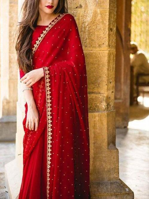 Beautiful Red Saree With Banglori Blouse