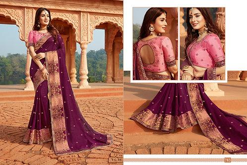 Heavy Silk Wine Color Saree