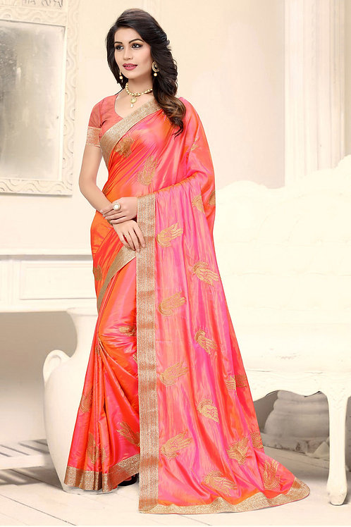 Awesome Orange Color Silk Embroidered Saree