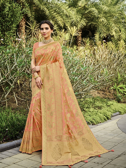 Most Popular Peach Color Festive Wear Saree