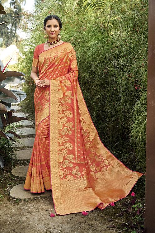 Most Popular Orange Color Festive Wear Saree