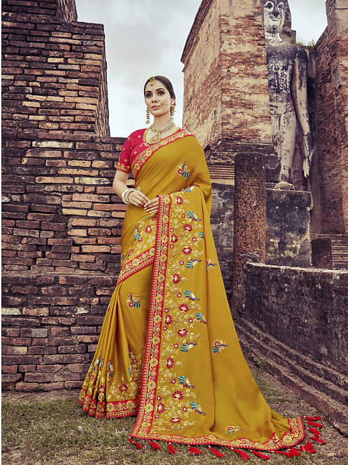 Fabulous Mustard Color Satin Silk Saree