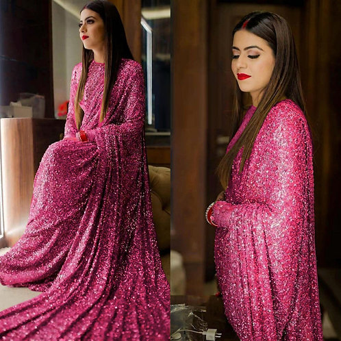 Party Wear Pink Sequin Saree With Georgette Blouse