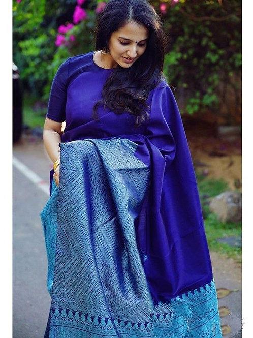 Beautiful Banarasi Silk Blue Color Saree