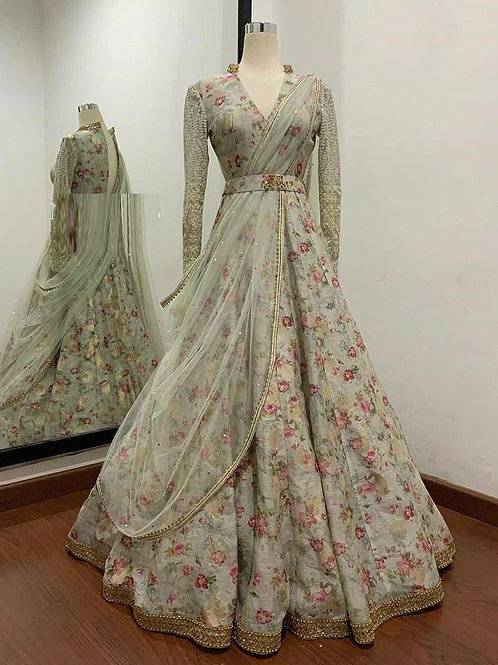 Indo Western Sage Green Gown For Reception