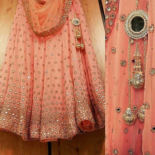 Mono Net Dupatta Light Peach Gorgette Fancy Thread Work Lehenga Choli