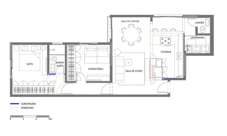 Planta da reforma do apartamento Gama Lobo | PAGAMA arquitetura + design