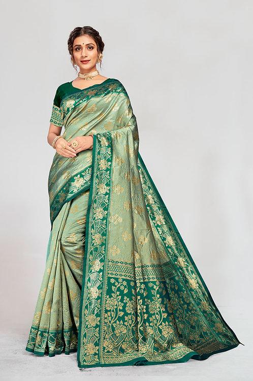 Excellent Pista Color Soft Silk Saree