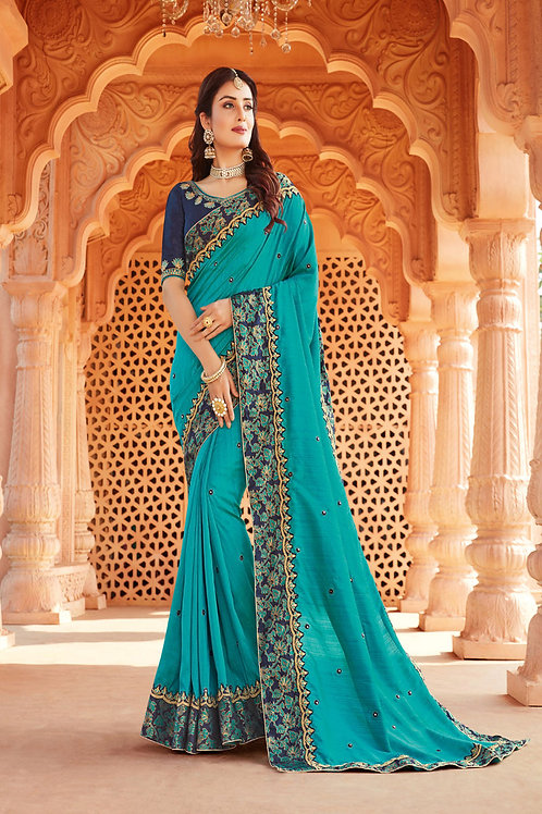 Party Wear Turquoise Color Heavy Georgette Silk