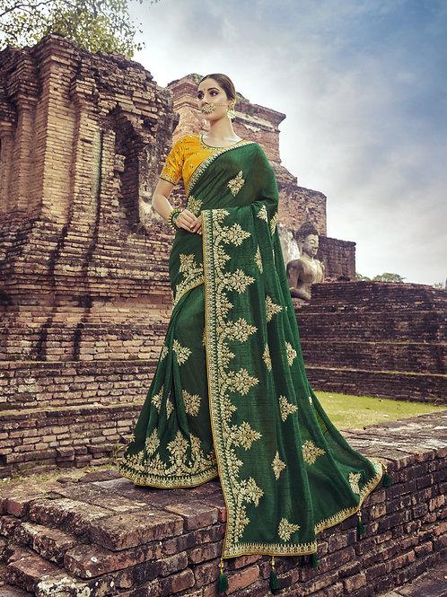 Fabulous Green Color Satin Silk Saree