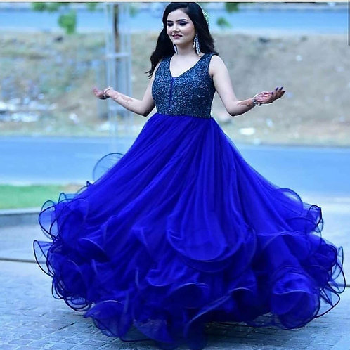 Blue Wedding Wear Ruffle Gown For Girls