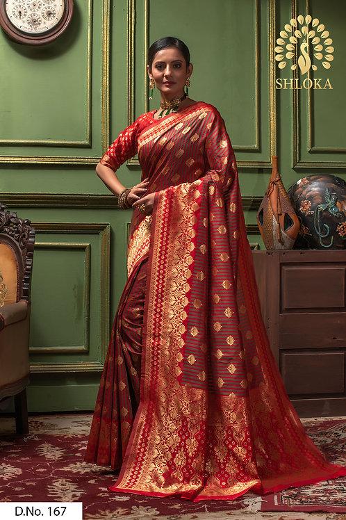 Perfect Red & Mehendi Color Silk Saree