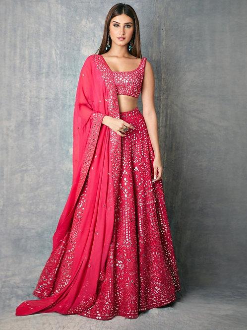 Pink Color Tara Sutaria Designer Mirror Work And Heavy Embroidery Lehenga Choli