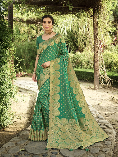 Most Popular Green Color Festive Wear Saree