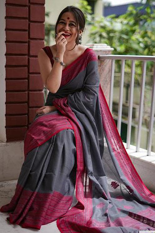 Grey Chanderi Cotton Saree with Banglori Blouse.