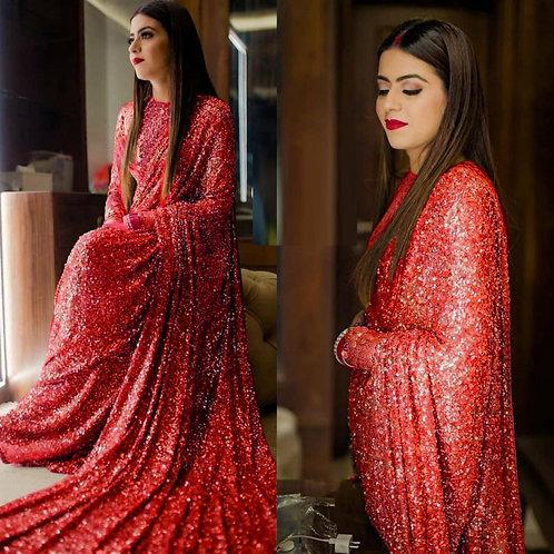Party Wear Red Sequin Saree Online