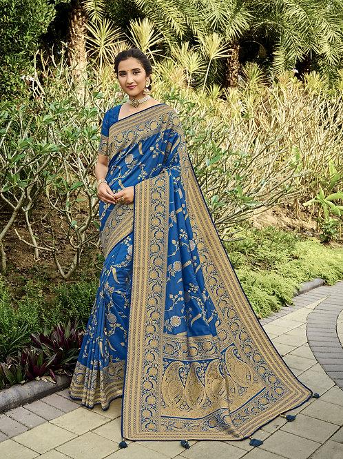 Most Popular Blue Color Festive Wear Saree