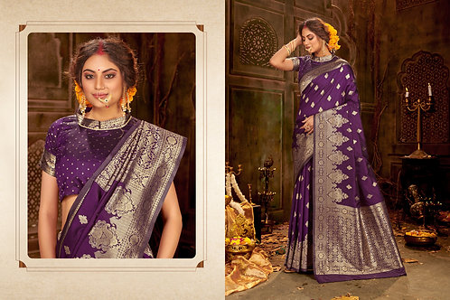 Purple Color Party Wear Banarasi Cotton SILK Saree