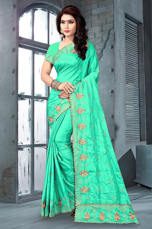 Awesome Sea Green Color Silk Embroidered Saree