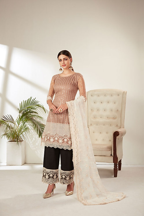 Ivory Color Butterfly Net Heavy Embroidered Designer Party Wear Salwar s