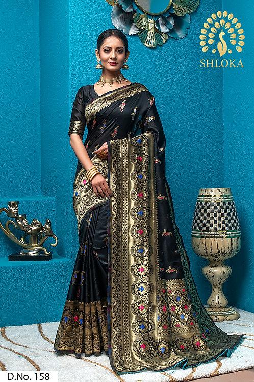 Black Banarasi Silk Jacquard Woven Saree With Blouse Piece
