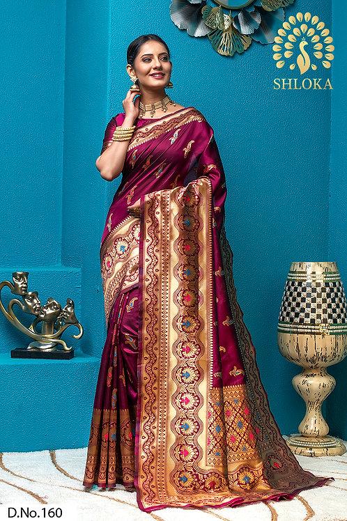 Magenta Banarasi Silk Jacquard Woven Saree With Blouse Piece